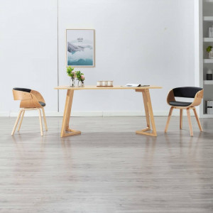 Scaun de bucătărie, negru, lemn curbat și piele ecologică