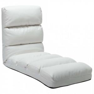 Scaun de podea pliabil, alb, piele ecologică
