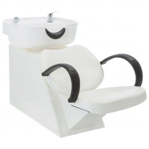 Scaun de spălare salon, cu lavoar, alb, piele ecologică