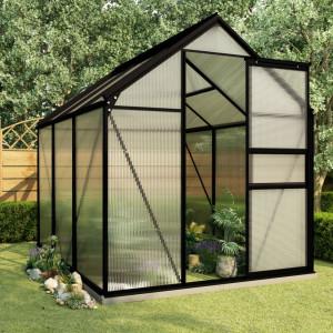 Seră cu cadru de bază, antracit, 3,61 m², aluminiu