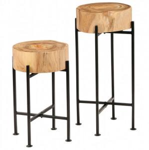 Set de mese laterale 2 buc., lemn masiv de acacia