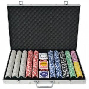 Set de poker cu 1000 de jetoane cu laser din aluminiu