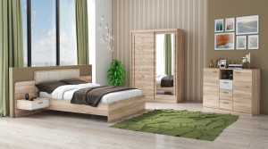Set Dormitor Tokyo, Sonoma, Dulap 150 cm, Pat 160x200 cm, 2 noptiere, comoda