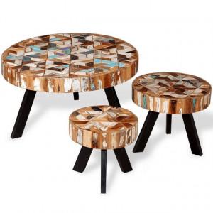 Set masă de cafea din lemn masiv reciclat, 3 buc.