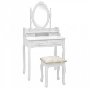 Set masă de toaletă cu taburet alb 75x69x140 cm lemn paulownia