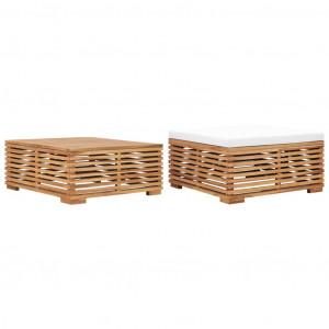 Set masă și taburet de grădină cu pernă crem, lemn masiv de tec