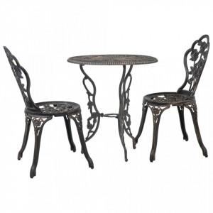 Set mobilier bistro, 3 piese, aluminiu turnat