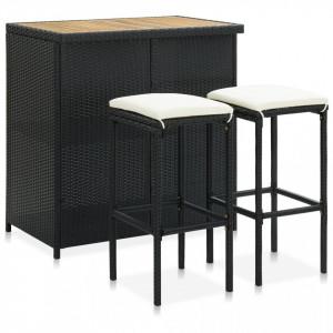 Set mobilier de bar, 3 piese, negru, poliratan