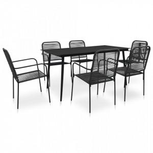 Set mobilier de exterior, 7 piese, negru, frânghie și oțel