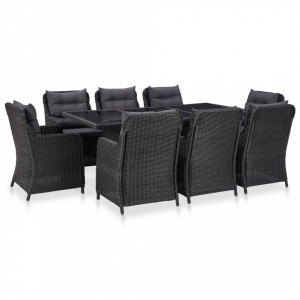 Set mobilier de exterior, 9 piese, negru, poliratan