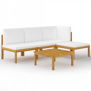 Set mobilier de grădină, 5 piese, perne crem, lemn masiv acacia