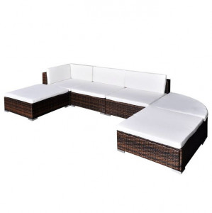 Set mobilier de grădină cu perne, 6 piese, maro, poliratan