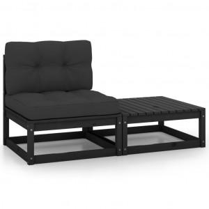 Set mobilier grădină cu perne, 2 piese, negru, lemn masiv pin