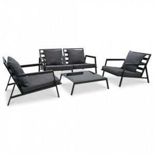 Set mobilier grădină cu perne, 4 piese, gri, închis aluminiu