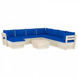 Set mobilier grădină din paleți cu perne, 9 piese, lemn molid