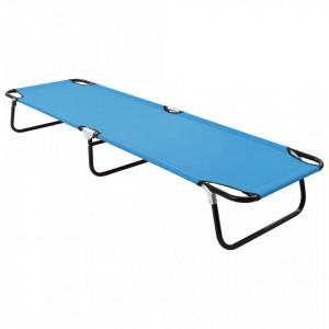 Șezlong de plajă pliabil, albastru turcoaz, oțel