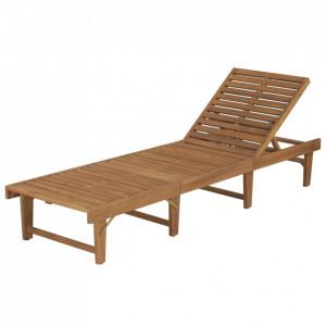 Șezlong de plajă pliabil, lemn masiv de acacia