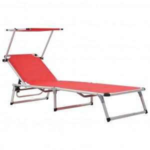 Șezlong pliabil cu acoperiș, roșu, aluminiu și textilenă