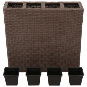 Strat înălțat de grădină cu 4 ghivece, 2 buc., maro, poliratan