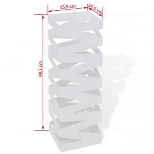 Suport pătrat pentru depozitare umbrelă și baston, 48,5 cm, Alb