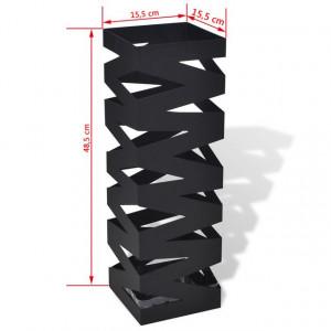 Suport pătrat pentru depozitare umbrelă și baston, oțel, 48,5cm, negru