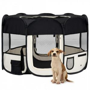 Țarc de câini pliabil cu sac de transport, negru, 110x110x58 cm