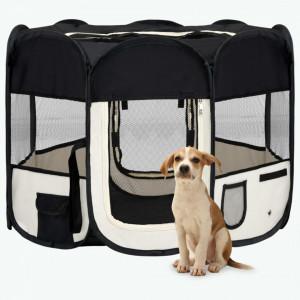 Țarc de câini pliabil cu sac de transport, negru, 90x90x58 cm