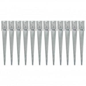 Țăruși de sol, 12 buc., argintiu, 10x10x76 cm, oțel galvanizat