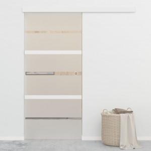 Ușă glisantă, argintiu, 90 x 205 cm, sticlă ESG și aluminiu