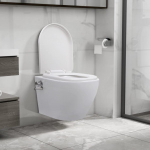 Vas WC suspendat fără ramă cu funcție de bideu, alb, ceramică