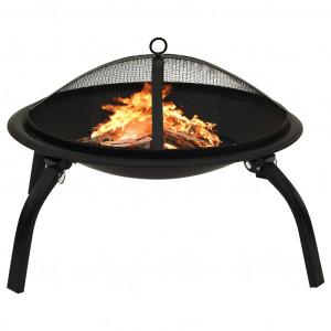 Vatră de foc 2-în-1 cu grătar și vătrai, 56x56x49 cm, oțel