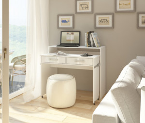 ZOOM (EXTENDABLE DESK) WHITE/WHITE HIGH GLOSS