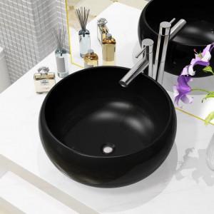 Chiuvetă de baie rotundă, negru, 40 x 15 cm, ceramică