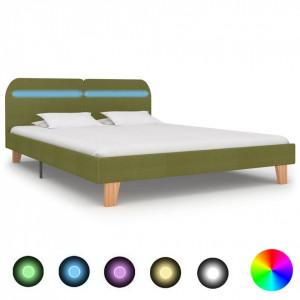 Cadru de pat cu LED-uri, verde, 160 x 200 cm, material textil