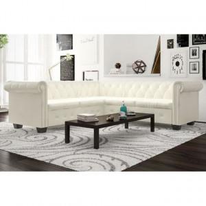 Canapea colțar Chesterfield cu 5 locuri din piele artificială, alb