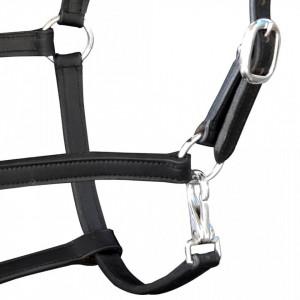 90890 Căpăstru din piele naturală reglabil pentru cai Cob, negru