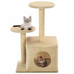 Ansamblu pisici cu stâlpi din funie de sisal, 60 cm, bej