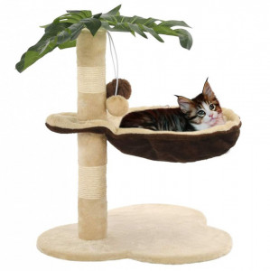 Ansamblu pisici cu stâlpi funie sisal, 50 cm, bej și maro