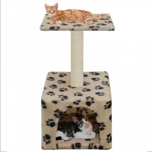 Ansamblu pisici, stâlpi funie sisal 55 cm, imprimeu lăbuțe, bej