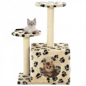 Ansamblu pisici, stâlpi funie sisal, 60cm, imprimeu lăbuțe, bej