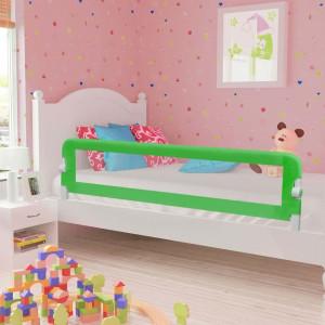 Balustradă de protecție pat copii, verde, 180x42 cm, poliester