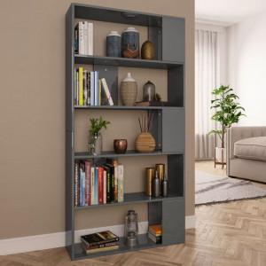 Bibliotecă/Separator cameră gri extralucios 80x24x159 cm PAL