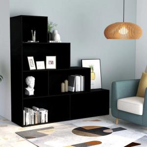 Bibliotecă/Separator cameră, negru, 155x24x160 cm, PAL