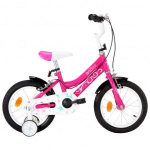 Bicicletă pentru copii, negru și roz, 14 inci