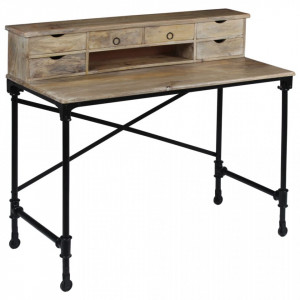 Birou de scris, lemn masiv de mango și oțel, 110 x 50 x 96 cm