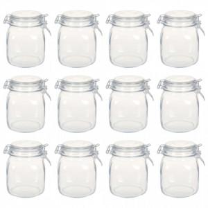 Borcane din sticlă cu închidere ermetică, 12 buc., 1 L
