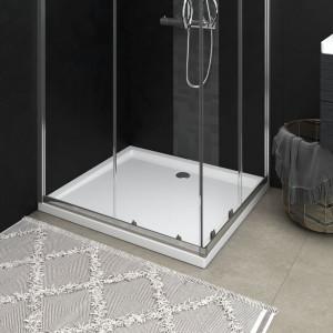 Cădiță de duș dreptunghiulară din ABS, alb, 80x90 cm