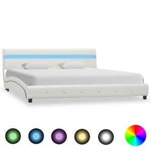 Cadru de pat cu LED, alb, 180 x 200 cm, piele artificială