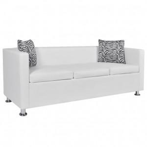Canapea cu 3 locuri, piele artificială, alb