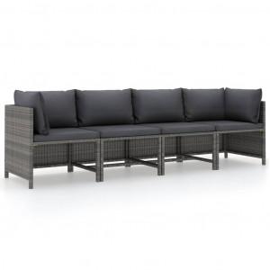 Canapea de grădină cu 4 locuri, cu perne, gri, poliratan